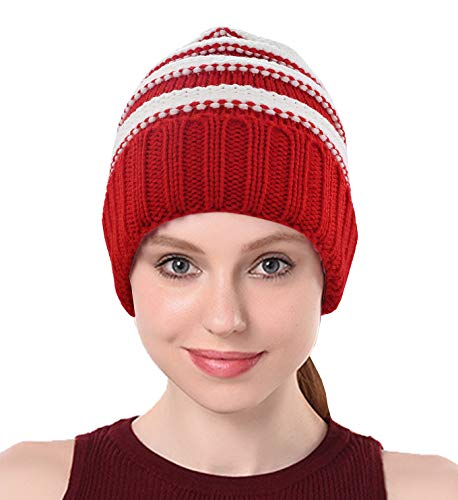 Chunky Cable Knit Slouchy Beanie,Trendy Warm Unisex,Thick Soft Warm Winter Hat Cap-Red and White Stripes