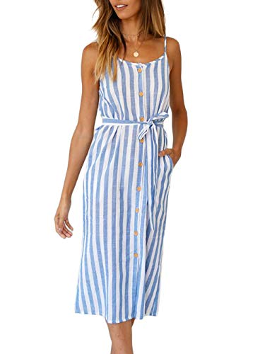 Kaei&Shi Backless Striped Dress with Pockets,Midi Bow Knot Dress for Women,Front Button Down Spaghetti Strap Sun Dress Blue - Front Dress Womens Bow