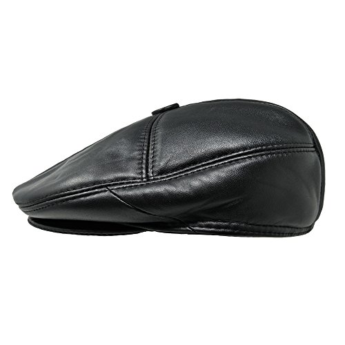 Leather Newsboy Hat (TangTown Lambskin Leather Unisex Flat Cap Newsboy Driving Cabbie Ivy Flat)