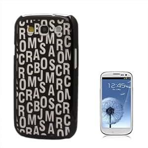 DapurMu - English Alphabet Pattern Plastic Hard Case for Samsung Galaxy SIII / i9300 (Black)