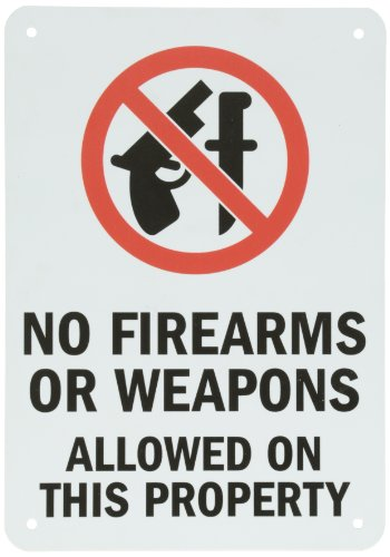 SmartSign Plastic Firearms Weapons Property product image