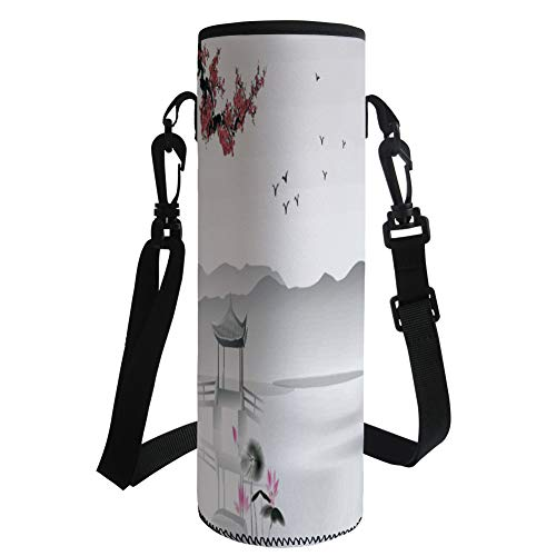 iPrint Water Bottle Sleeve Neoprene Bottle Cover,Asian Decor,Japanese Asian Style Garden with Bird and Small Pavilion Over The Lake Lotus Waterlily,Grey Pink Red,Fit for Most of Water Bottles