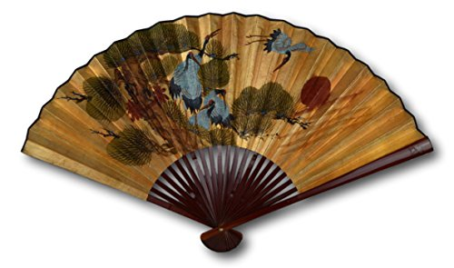 1980s Vintage Classic Large 42-inch Hand-painted Chinese Decorative Wall Fan, Gold Leaf, Paper Fan Crane and Pine, Japanese Style (2411)