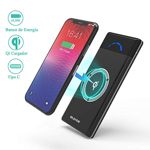 BLAVOR Wireless Power Bank, Externer Akku mit 10.000 mAh, mobiles kabelloses...