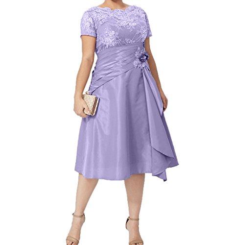 Formalkleider mit Ballkleider Kurzarm Festlichkleider Kurzes Charmant Damen Knielang Abendkleider Lilac Brautmutterkleider qn4AOY