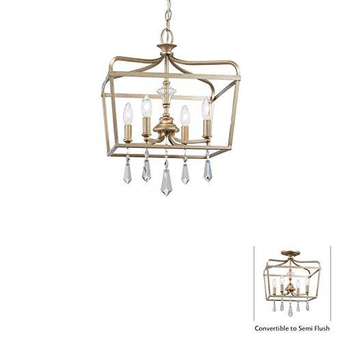 Gold Laurel Crystal Chandelier (Minka Lavery Ceiling Pendant Chandelier Lighting 4447-582 Laurel Estate, 4-Light Fixture 240 Watts, Brio Gold)