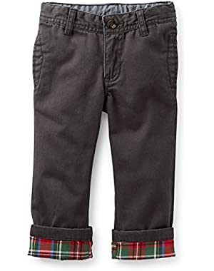 Little Boys Flannel Lined Black Pants (6 Mos.)