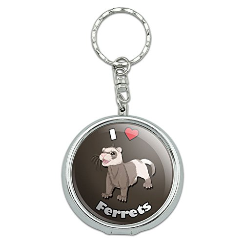 Graphics and More Portable Travel Size Pocket Purse Ashtray Keychain I Love Heart A-M - Ferrets Ferret Pet