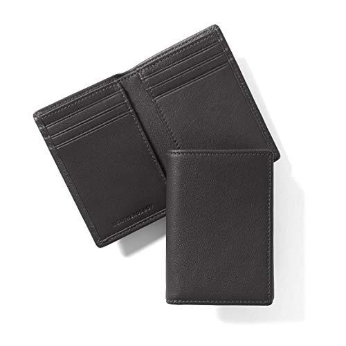Fold Bi Vertical - Leatherology Men's Vertical Bifold Wallet - Full Grain Leather - Black Onyx (black)