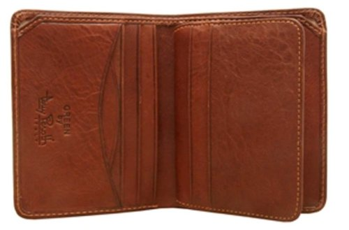 Tony Perotti Brown Bag - Mens Vertical Bifold ID Wallet Front Pocket Minimalist Card Case Italian Leather