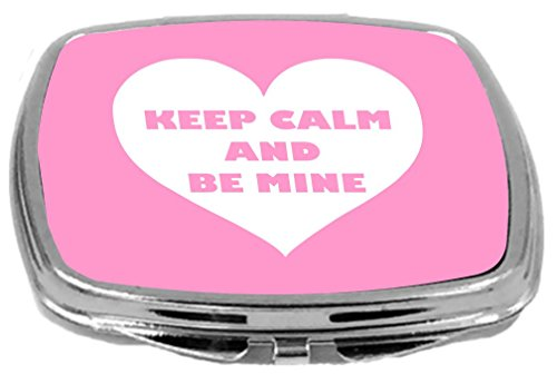 Rikki Knight Valentine's Day Keep Calm and Be Mine Design Compact Mirror, White/Pink, 2 Ounce