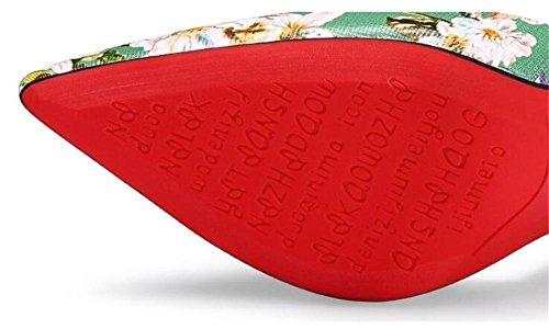 in EU36 38 GAOGENX alla spillo e Tacco Taglie tacco con pompe donna vera a Scarpe dalla pelle da da sera stampa 35 qCwRqY1