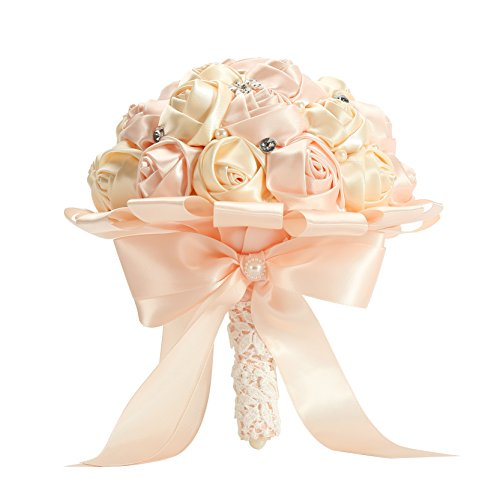 PYJTRL Multicolor Crystal Pearl Wedding Bridal Bridesmaid Ribbon Bouquets (Pink + champagne 02) - Pink And Champagne Wedding