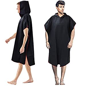 BUZIFU Changing Poncho Towel Changing Robe Quick Dry Robe Hooded Hood Towel Poncho Adult Swim Robes Microfiber Wetsuit…