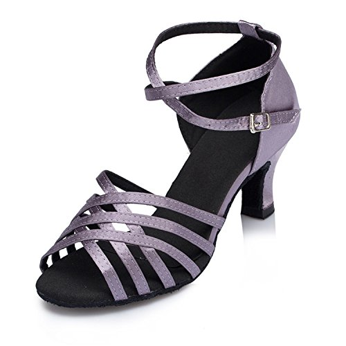 Ballroom Dance Salsa Women's Latin Peep W161 Toe Tango Gray Shoes Dance Buckle Shoesland Heel Chunky PAzwZnRq