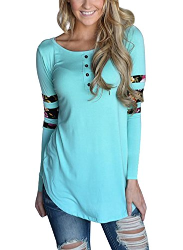 AlvaQ Women Winter Sexy Long Sleeve Tshirt Work Slimming Plus Size Clothing Ladies Tunic Tops Light Blue