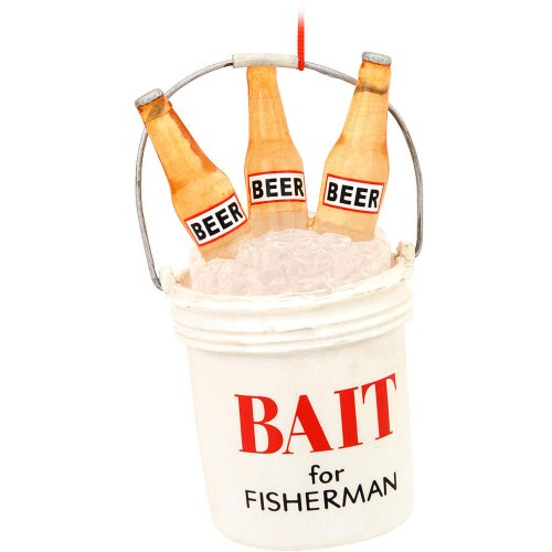 Midwest-CBK White Plastic Bait Bucket with Beer Christmas...