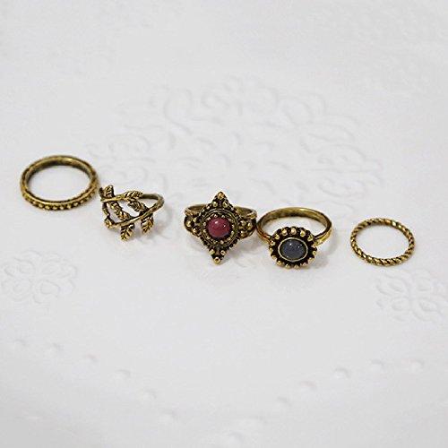Marrakesch Vintage Midi Juego de anillos con ornamento boho Style bohoringe joyas set dedos joyas arabesk en plata de imitación de desido®