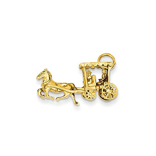14k Gold Carriage - 14k Solid Polished 3-Dimensional Horse & Carriage Charm, 14 kt Yellow Gold