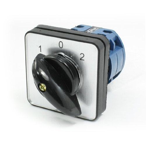 Uxcell Ith 16A 1-0-2 Position 8 Screw Terminals Rotary Cam Combination Switch, Black ()