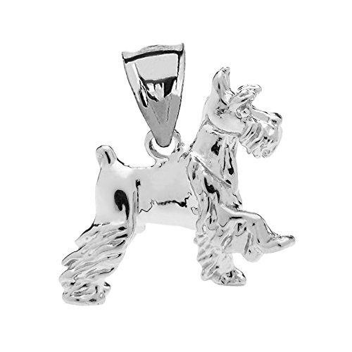 Solid Sterling Silver Schnauzer Charm Pendant