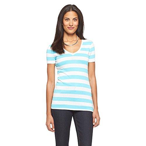 Merona Women's Ultimate V Neck Turquoise Striped T-Shirt (XX-Large) (Smee Costume)