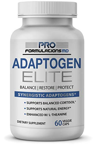(Adaptogen Elite - Synergistic Adaptogen Blend - 60 vcaps - Supports Balanced Cortisol & Natural Energy - Enhanced with Rhodiola, Ashwagandha, Astragalus, Schisandra, Eleuthero, Ginseng & L-Theanine)
