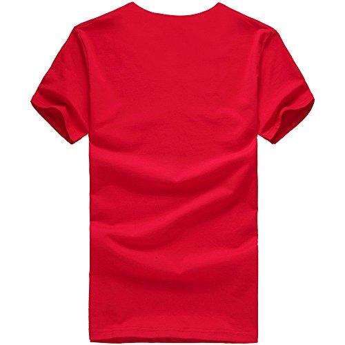 T Tumblr Camicia Sportivi Maglione Casual shirt Magliette Particolari Elegante Stampa Uomo Homebaby® Rosso Manica Stretch Maglietta Estiva Corte Cotone Corta Vintage Zw8qw4xFd