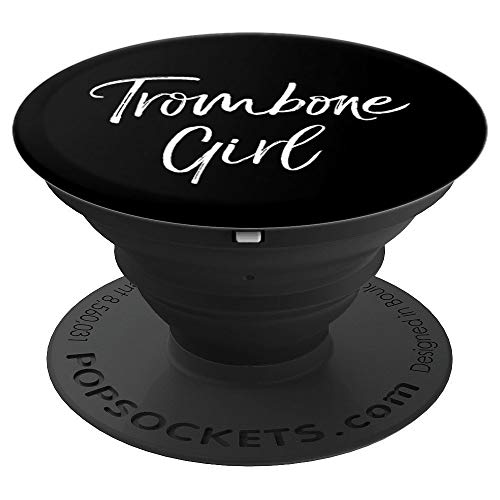 Marching Band Apparel Gift for Women Cute Trombone Girl PopSockets Grip and Stand for Phones and Tablets