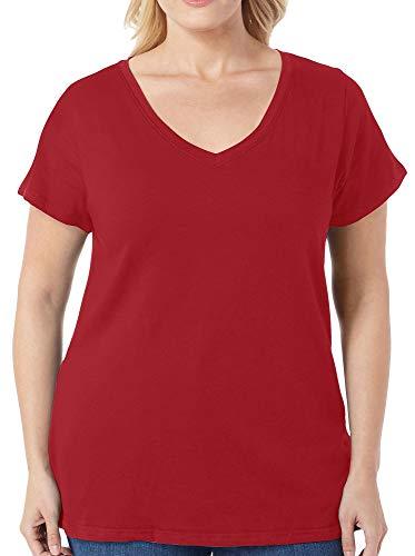 (Derek Heart Juniors Plus Solid V-Neck T-Shirt 1X Syrah Wine red)