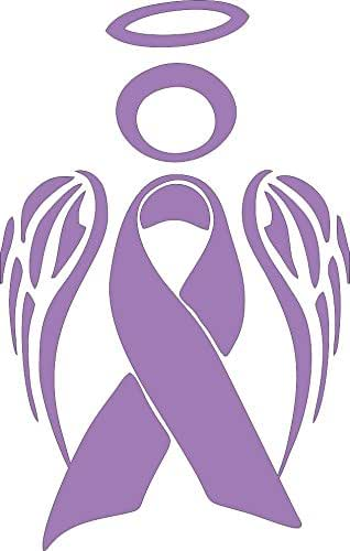 Barking Sand Designs Esophageal Stomach Cancer Ribbon Angel Awareness - Die Cut Vinyl Window Decal/Sticker for Car/Truck 3.5