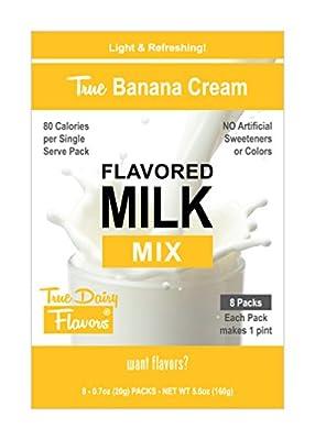 True Dairy Flavors Banana Cream Flavored Milk Mix, 8 Pack of 20 g Single Serve Sticks