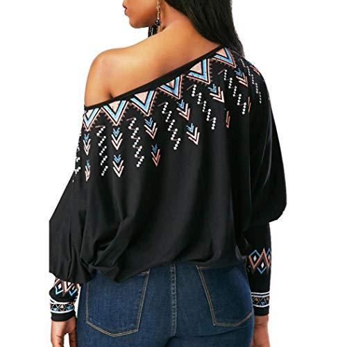 AIMEE7 Chemisier Tops Imprim T Style Femme Blouse Manche Shirt Ethnique Haut Noir Longue rpzqrPwf