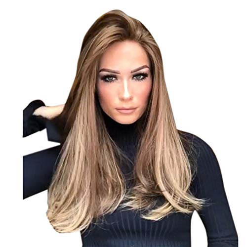 Brazilian Remy Human Long Curly Hair Lace Wigs with Baby Hair for Women Brown Color 70CM (70CM, Brown) ()