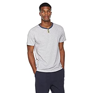 Rebel Canyon Young Men's Regular Fit Heather Jersey Short Sleeve Henley with Color Blocked Neck And Snap Placket Large Lt. Grey Heather