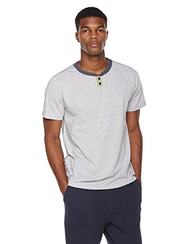 Rebel Canyon Young Men's Regular Fit Heather Jersey Short Sleeve Henley With Color Blocked Neck and Snap Placket Medium Lt. Grey Heather Pullover Men T Shirt