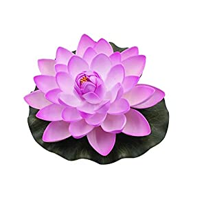 super1798 Artificial Lotus Flower Fake Floating Water Lily Garden Pond Fish Tank Decor Plant 80