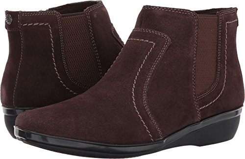 Clarks Womens Everlay Leigh Low Boot, Size: 8.5 C/D US, Color Dark Brown Suede