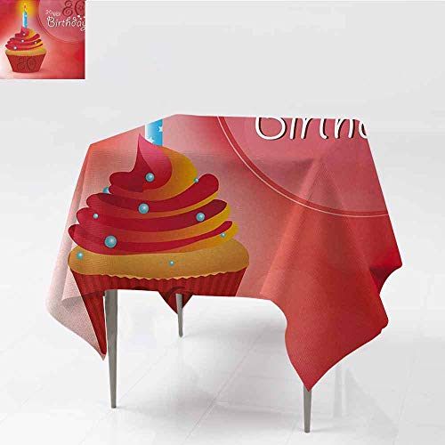 DILITECK Decorative Textured Fabric Tablecloth 80th Birthday Birthday Party Cupcake with a Candle and Beaming Sun Image Print Easy to Clean W50 xL50 Orange Red and White -