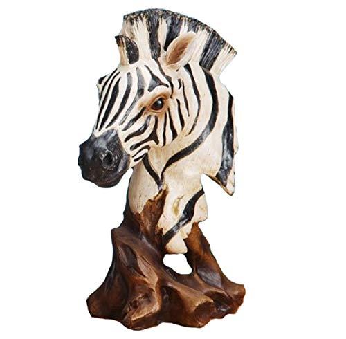 12 Inch African Zebra Head and Bust Figurine Statue, Black and White (Home Statue Decor Zebra)