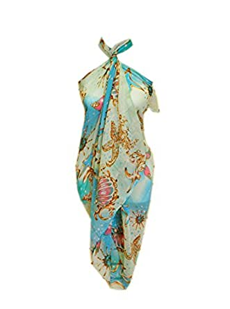 SCARF_TRADINGINC Chiffon Pareo Scarf Wrap Shawl Sarong Swimsuite Cover-up (Jewelry Aqua)