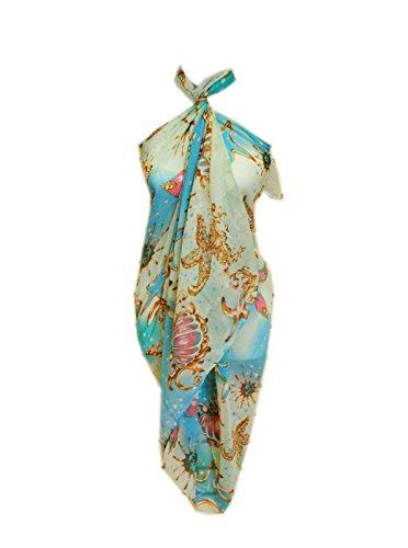 SCARF_TRADINGINC® Chiffon Pareo Scarf Wrap Shawl Sarong Swimsuite Cover-up (Jewelry aqua blue)
