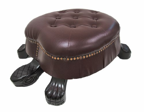 Nautical Ottoman (Things2Die4 Wood Ottomans Elegant Walnut Finish Turtle Ottoman Foot Stool 28 X 9.5 X 21 Inches Brown)