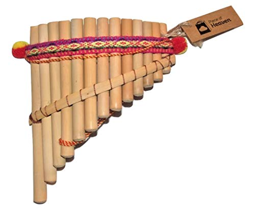 Artesanal Curved Pan Flute 13 Pipes Natural Bamboo