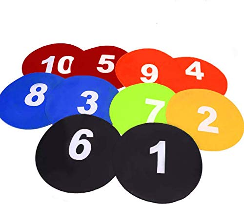 TOCO FREIDO Numbered Floor Spot Markers, Basketball Football Training Markers - 10 Pack