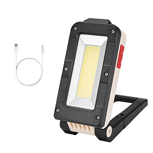 ❤SU&YU❤COB+LED Rechargeable Magnetic Torch Flexible Inspection Lamp Cordless Worklight (S) Black