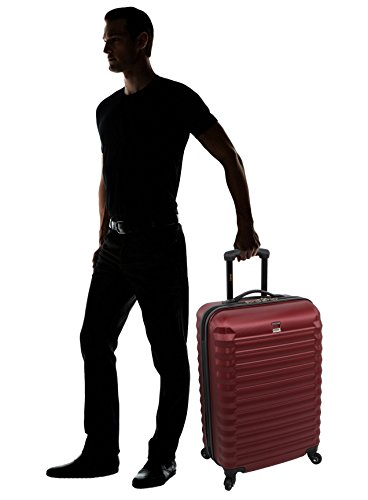 64a2c166e Lucas ABS Large Hard Case 28 inch Checked Suitcase With Spinner Wheels  (28in, Burgundy
