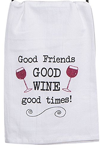 Kay Dee Designs Good Wine Krinkle Flour Sack Towel with Glitter - Kay Designs Dee Wine