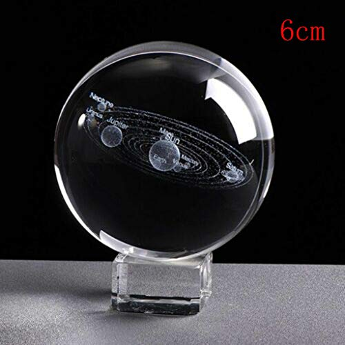 Kiminana Crystal Ball, 3D Solar System Crystal Ball Engraved Solar System Miniature Planets ()