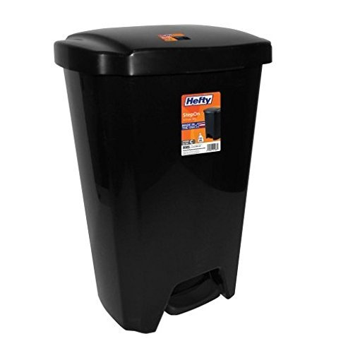 Hefty 13-Gallon Step-On Trash Can, Black Rugged And Durable (1) (1)